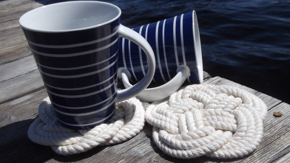 Nautical Decor - 4 Turks Head Cotton Coasters- Very Nautical and Classic - hostess gift, birthday gift, for her, for him, for them