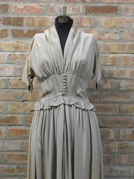 Reserved  40s Claire McCardell Stone Colored Draped Bust Dress