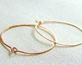 Solid Copper Hammered Earthy Hoop Earrings