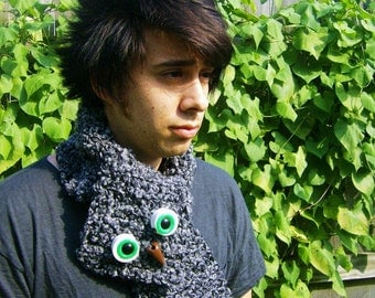 Black and Grey Crocheted Scarf with Vintage Macrame Owl Attachments