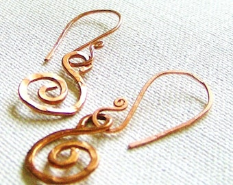 Solid Copper Hammered Earthy Spiral Earrings