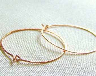 Solid Copper Hammered Earthy Hoop Earrings