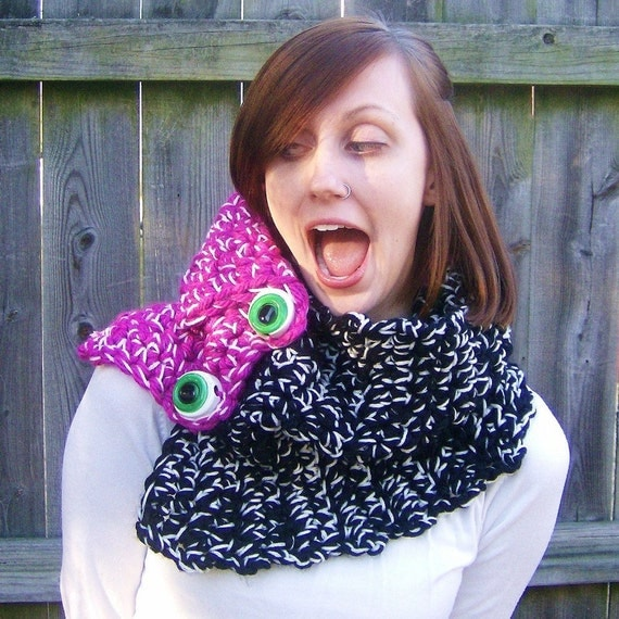Monster Punk Neckwrap Cowl in Black and Fushia Pink