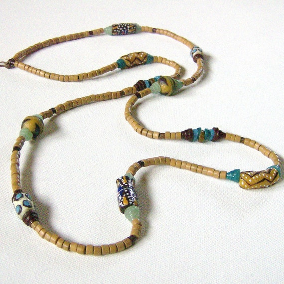 Living Wage Soul of Somanya Support Necklaces- Tan with Aqua/White//Yellow/Brown Krobo Beads