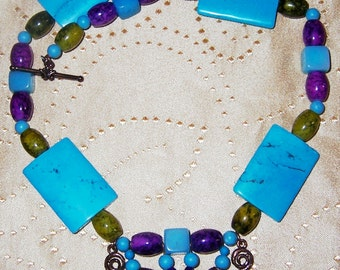 Turquoise Daredevil Necklace OOAK Designer Bold Statement Chunky Chartreuse, Purple, Copper Bib Style