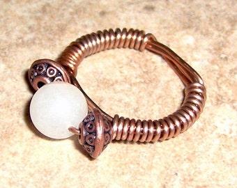 Snow White Quartz Ring Copper Wire Wrapped Size 6