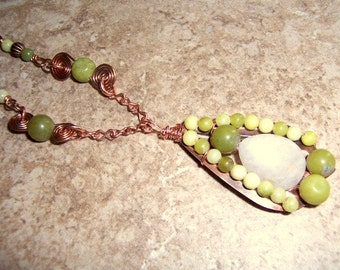 Green Goddess OOAK Necklace. Serpentine Copper Wire Wrapped