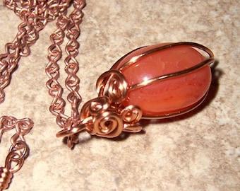 Carnelian Cage Pendant Necklace Healing Energy Stone