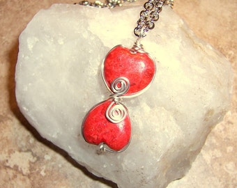 Two Hearts Beat As One- Red Valentines Coral Heart Pendant Necklace Wire Wrapped- Gifts Under 50