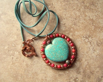 Southwest Love. Turquoise Heart Womens Necklace Wire Wrapped Red Coral Copper Leather Cord