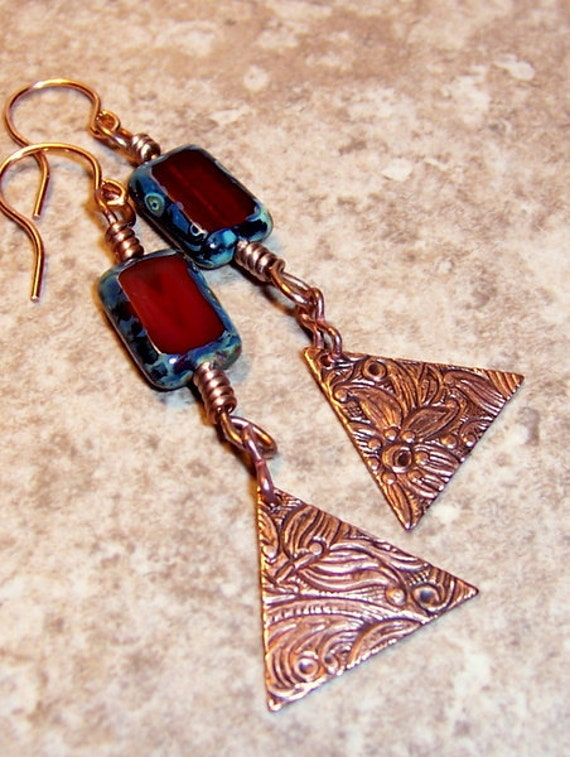 Black Friday Cyber Monday Red Picasso Glass Earrings, Bermuda Triangle