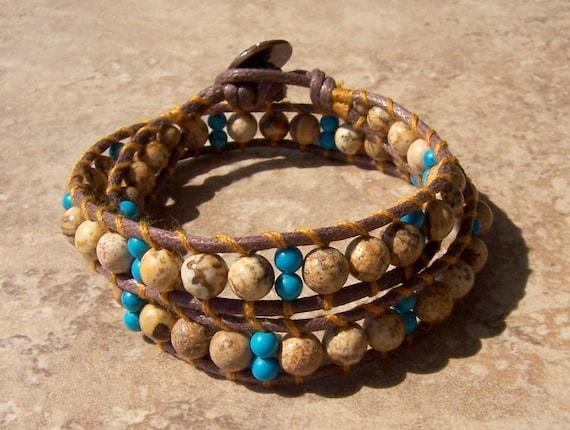 SALE Vegan Bohemian Wrap Bracelet Beaded Picture Jasper Stone Double Wrap Turquoise Tribal Copper Flower Button