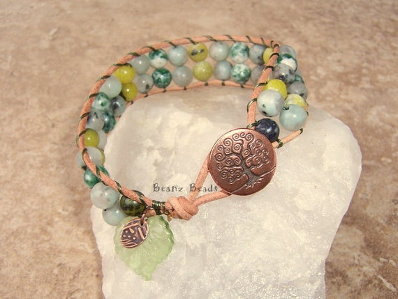 Green Earth Leather Wrap Bracelet Cuff with Tree of Life Button