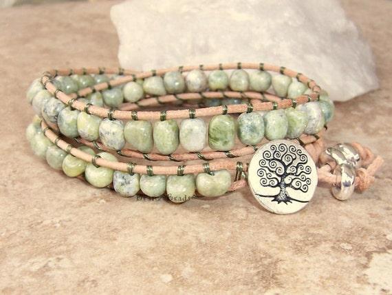 SALE Peridot Jasper Leather Wrap Bracelet with Tree of Life Button