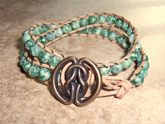 RESERVED FOR SARAH Green Tree Agate Leather Wrap Bracelet with Celtic Knot Button Double Wrap
