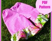 Girls pants pattern, pdf pattern, Wide Leg Ruffle Bottom Pants sizes 9m-5T, baby girls easy sew