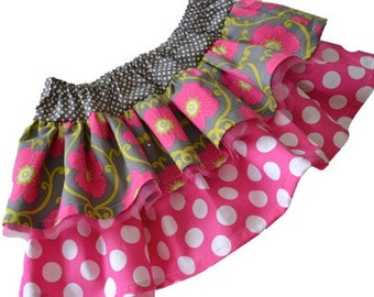 "Girls Skirt Pattern Pattern PDF, Easy Sewing Pattern ""The Chloe Double Ruffle Skirt"" sizes 12m-8"
