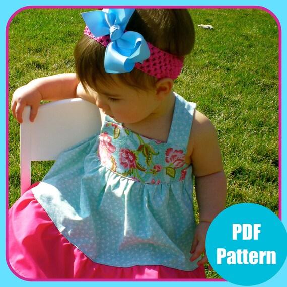 """Girls Dress Pattern, Baby Dress Pattern, Sewing Patterns, PDF Sewing Pattern, Easy Sewing PDF Pattern 6m-12  """"Madison Dress"""""""