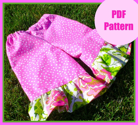 Girls pants pattern, pdf pattern, Wide Leg Ruffle Bottom Pants sizes 9m-5T, baby girls easy sew