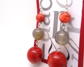 Zen - Red Coral and Gray Agate 925 Sterling Silver Earrings