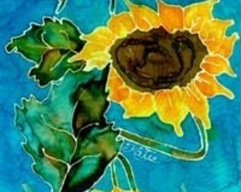 Original Sunflower Silk Painting Greeting / Gift Card - SET of 4 cards - Blank Inside - FREE SHIPPING in U.S.