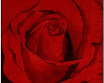 Red Rose - Original Silk Painting - Set of 4 Greeting Cards - Blank Inside - REE SHIPPING to US