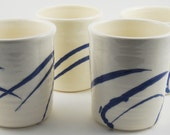 White Tumblers with Blue Slip Design (Set of 4)