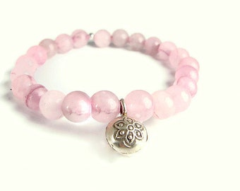 Cleansing Mala Bracelet, Rose Quartz Gemstone bracelet, Silver Lotus Bell , Yoga Bracelet, Mala Prayer Bead, Buddha Jewelry, Lotus bracelet
