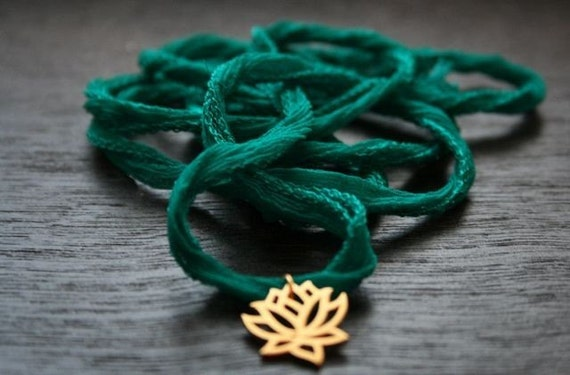 Lotus -Emerald Green Silk Ribbon with 24k Gold Dipped Lotus Charm bracelet or necklace- Yoga Inspired jewelry