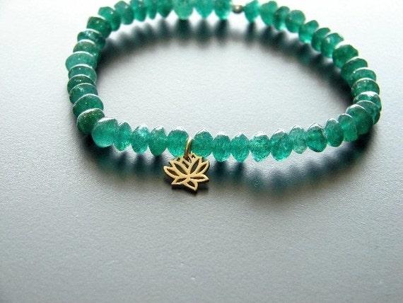 Emerald Lotus 24K Vermeil Bracelet Love Wealth New Beginnings