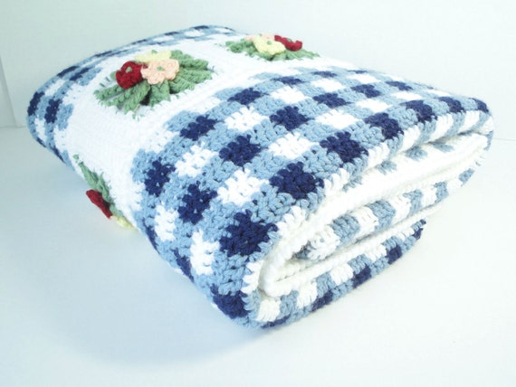 Blue Gingham Crochet Blanket in Spring Garden (READY TO SHIP)