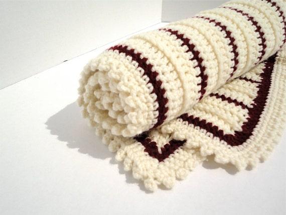 Crochet Baby Blanket in Maroon & Beige (Ready to Ship) Aggie Baby