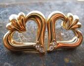 Vintage 80's Avon // Rhinestone Heart Earrings