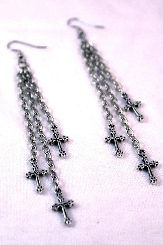 Cascading Triple Chain Cross Earrings