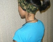 Green Camouflage colored Headband, Dreadband, Hair Wrap, or Ear Warmer