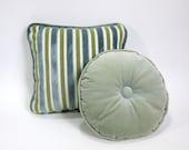 reserved .....  Round Velvet Decorative Pillow  60s
