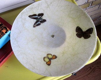 Fiberglass Decorative Bowl with Butterfly Inlay 50s / Retro Eames Home Decor