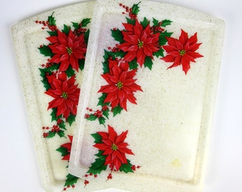 Vintage 1960s Tray / Gold Glitter Fiberglass Poinsettia Serving Tray / Retro Kitsch Christmas / Two Available