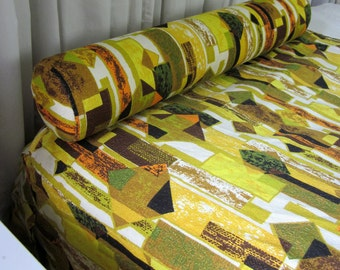 REDUCED Vintage 1950s Bedding / 50s Eames Era Hand Sewn Abstract Barkcloth Twin Size Coverlet and Pillow