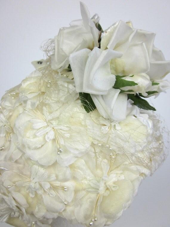 Silk and Velvet Flowers Bandeau Hat 60s / Vintage Bride