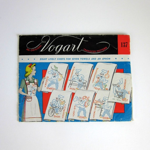 Vogart Days of the Week Lively Chef Embroidery Transfer 50s / Complete