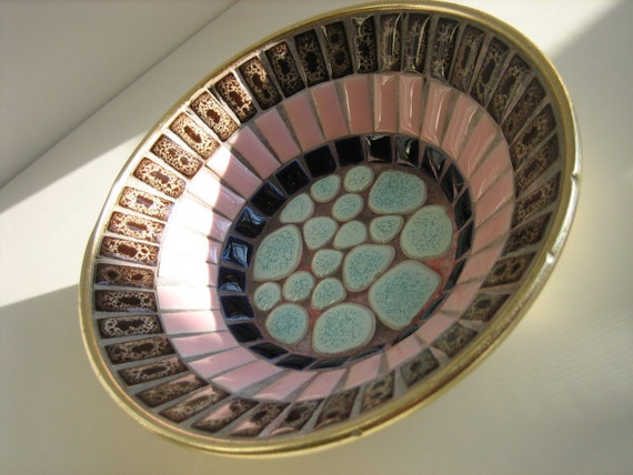 60's Small Decorative Mosaic Tile Bowl