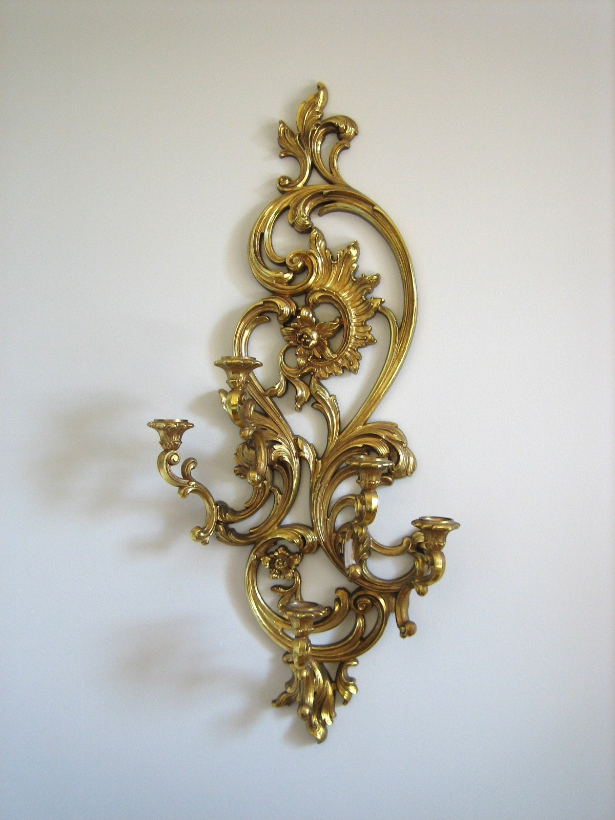 Gold Candle Wall Lights : Large Ornate Gold Candle Wall Sconce
