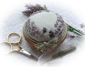 PP4 Lavender and Bees Precious Pincushion Kit (pale green silk) -  Full kit