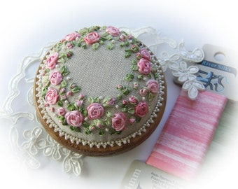 Silk Ribbon Embroidery - PP13 Roses and Pearls Pincushion Kit (pink)