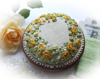 Silk Ribbon Embroidery - Roses and Pearls Yellow Rose of Texas Pincushion