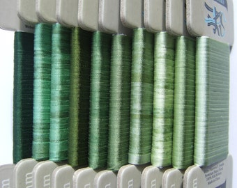 Gorgeous Greens Collection - 4mm Silk Ribbon