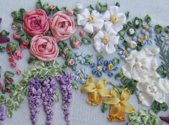 Garland of silk ribbon flowers pattern and print