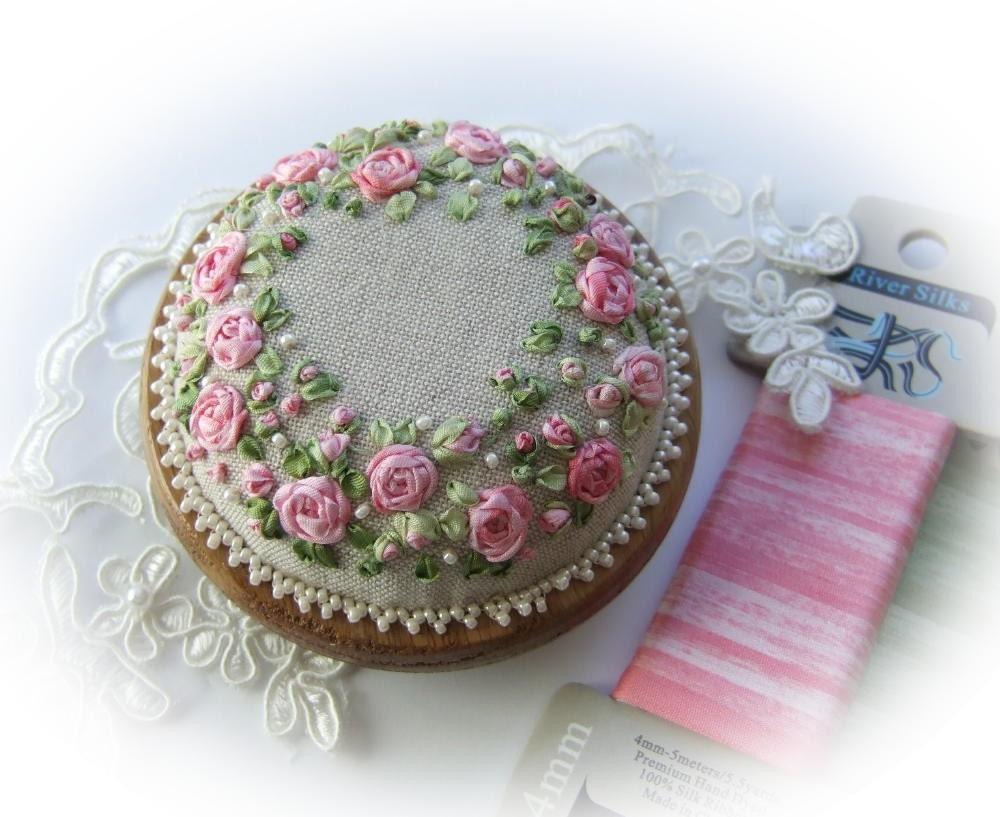 Silk ribbon embroidery pp roses and pearls pincushion kit