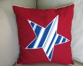 Red, White and Blue Appliqued Star Pillow